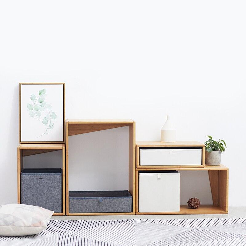 ZEN'S bambou Cube système de rangement commode armoire s'unir avec boîte de rangement en tissu - 5