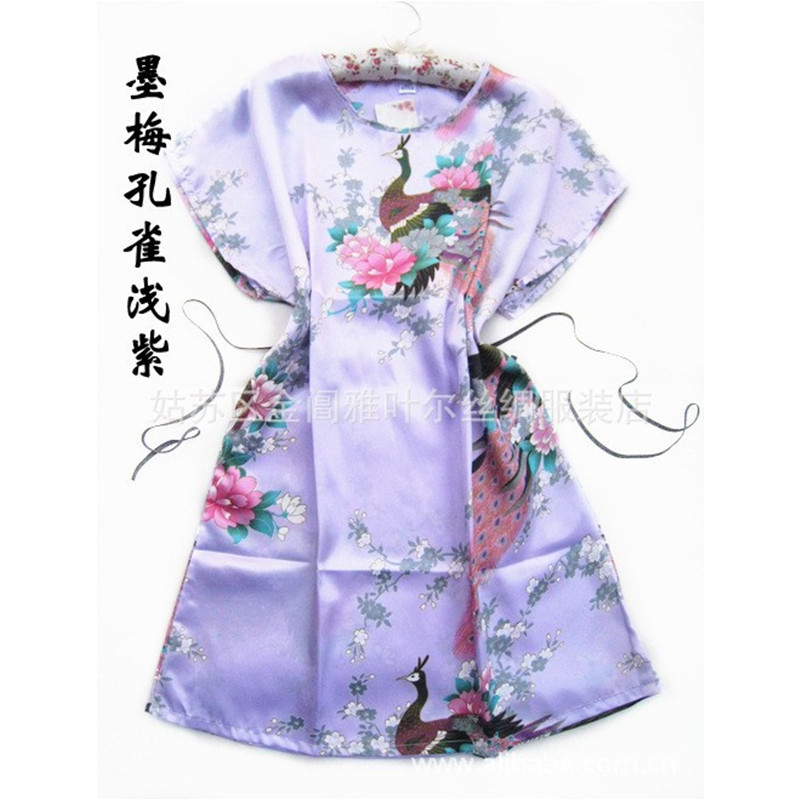 Hot Sale Fashion Lavender Peacock robe Ladies pajamas Silk Rayon Robe Bath Gown One Size Flower Free Shipping