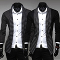 2016 New Men Fashion Stripe Color Sweater Mens Long Sleeved Cardigan Free Shipping