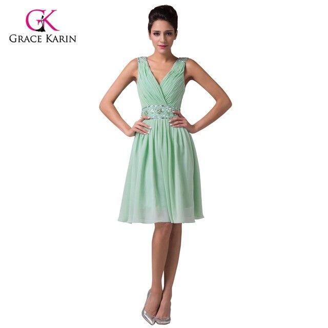 barato verde menta corto vestidos de dama de honor bajo 50 gracia
