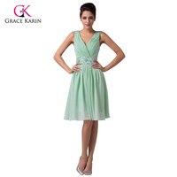 Grace Karin V Neck Pretty Girls Light Mint Green Short Bridesmaid Dress Chiffon Knee Length Wedding