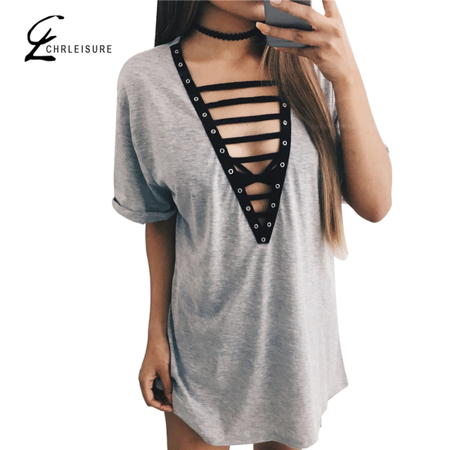 CHRLEISURE S-L Summer Sexy V-Neck T Shirt Women Bandage Loose Patchwork Short Sleeve Tops Women
