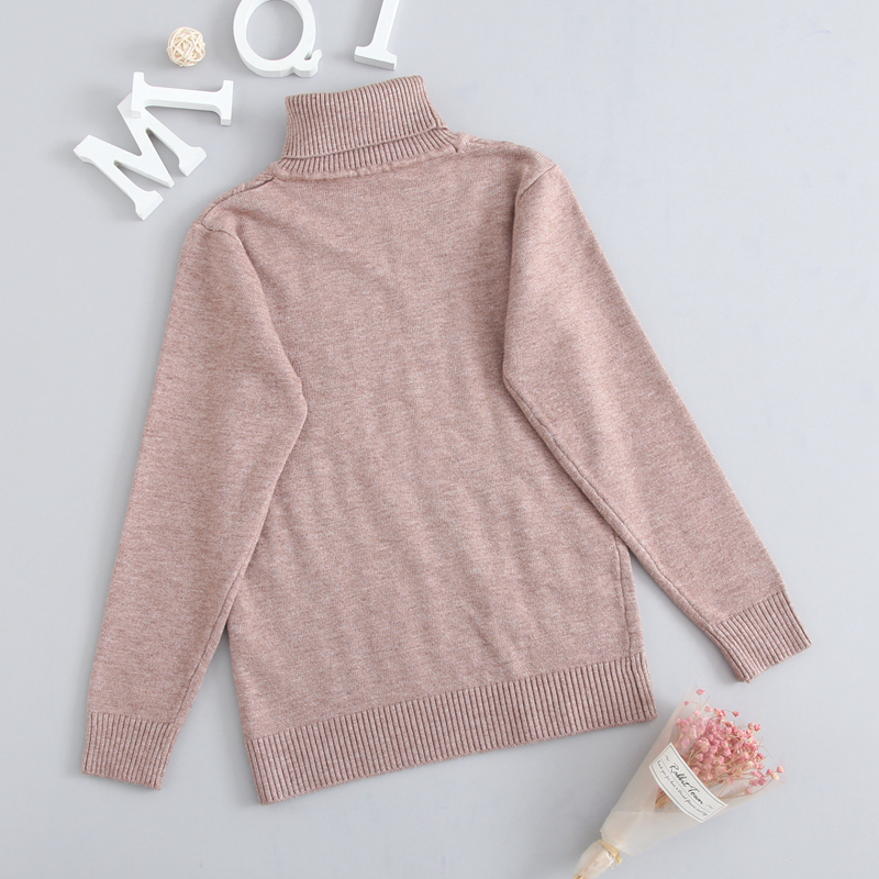 Image 3 - Winter Autumn 2T 7T Pure Color Winter Boy Girl Kid Thick Knitted Bottoming Turtleneck Shirts Solid High Collar Pullover Sweater-in Sweaters from Mother & Kids