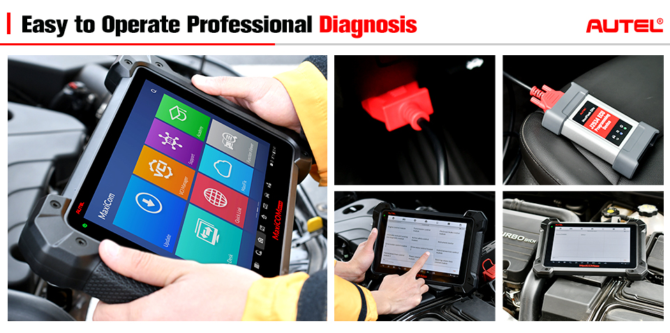 AUTEL MaxiCOM MK908P Auto Diagnostic & Programming Tools with  J2534 ECU Coding Adapter (Advanced Version Of Autel MS908P)