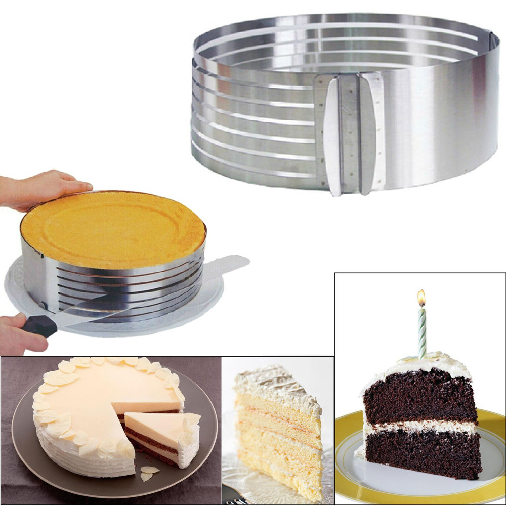 Mousse Cake Ring 15 20cm Stainless Steel Adjustable Retractable Circular Layered Slicer Baking Tool Kit Set Mould Slicing in Cake Molds from Home Garden
