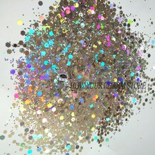 Hexagon shape Glitter Solvent Resistant Holographic Silver Colors Hexagon shape Glitter for Nail Polish Acrylic and DIY supplies