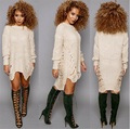 2016 Casual Knitted Sweater Dresses Women Long Sleeve pullover Round Neck Bodycon Irregular Khaki/Black Loose Sweater Dress