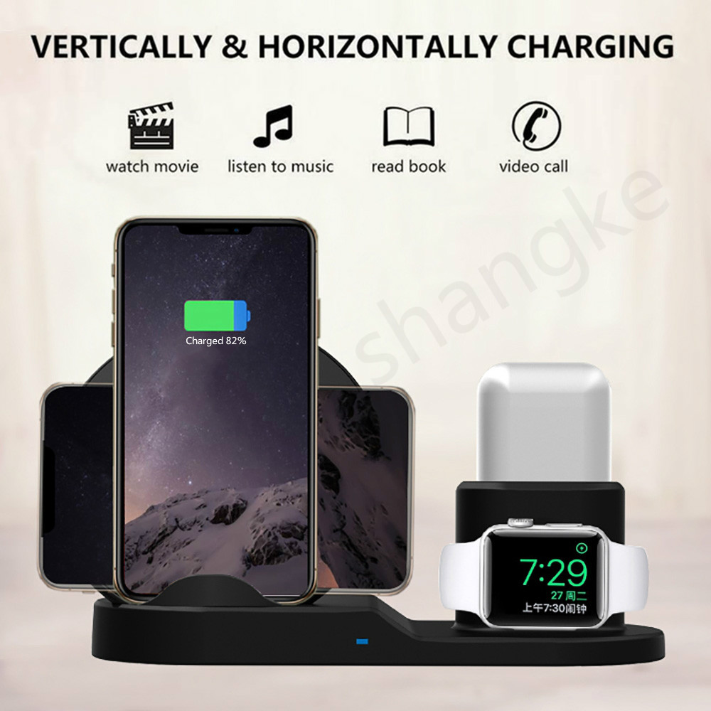 Wireless Charger Stand for iPhone AirPods Apple Watch, Charge Dock Station Charger for Apple Watch Series 4/3/2/1 iPhone X 8 XS 4