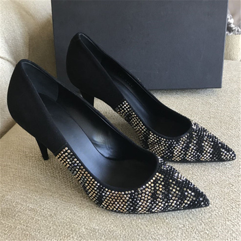 2019 Design Sexy Women Shoes Rivet Studded High Heels Ladies Pumps Slip On Pointed Toe Dress Party Shoes Women Zapatos De Mujer