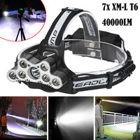 MUQGEW High Quality 40000 LM 7X XM L T6 LED Rechargeable Headlamp Headlight Travel Head Torch
