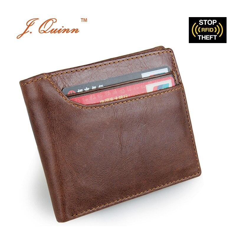 J.Quinn RFID Men Short Credit Wallet 11 Cards Currency Dollar Mens Bifold  Genuine Leather Wallets Vintage Note Purses 2017 New 4255af83d4f