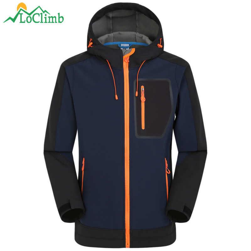 LoClimb kurtka typu softshell mężczyźni wiatroszczelna wodoodporna kurtka męska miękka powłoka wiatrówka płaszcz przeciwdeszczowy Trekking kurtki turystyczne AM039