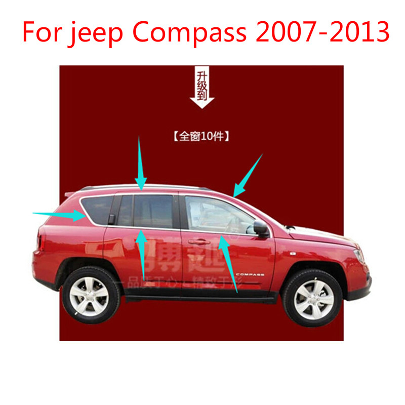 For jeep Compass 2007 2013 (10piece) High quality stainless steel Strips Car Window Trim Decoration Accessories Car styling