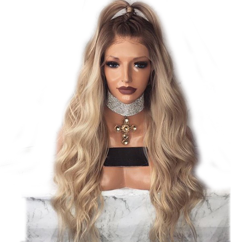 DLME 180%density heat resistant blonde wig body wave synthetic hair lace front wigs with natural hairline short brown root