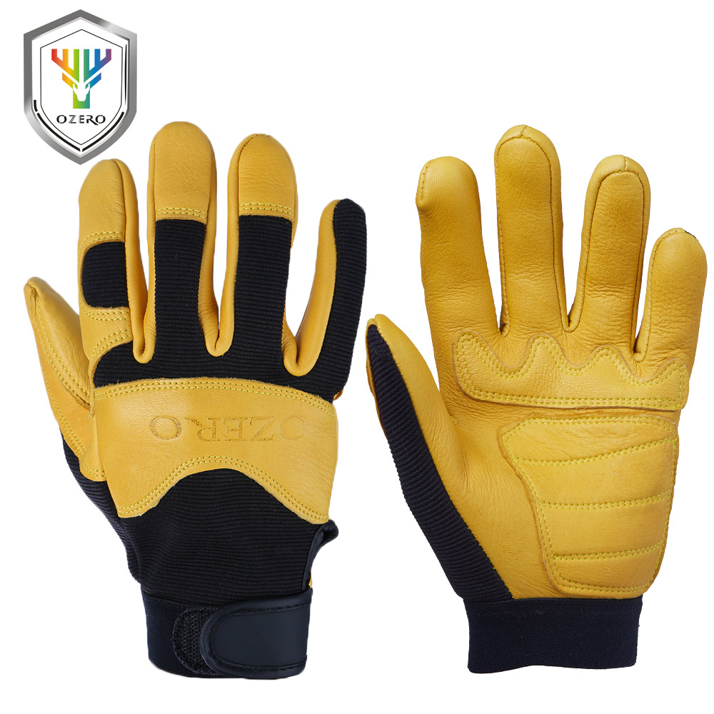 OZERO Men's Work Gloves Deerskin Leather Driver Security Protection Wear Safety Workers Working Racing Moto Gloves For Men 8003 ozero deerskin winter warm gloves men s work driver windproof security protection wear safety working for men woman gloves 9009