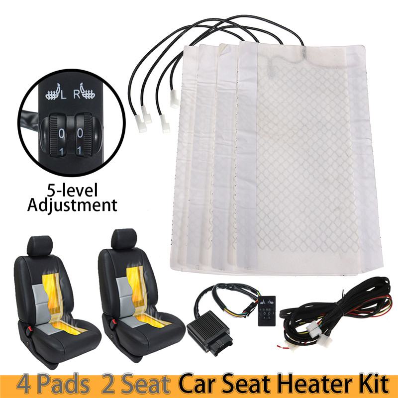 48x28cm Universal Car Seat Heater Carbon Fiber Winter Heated Cushion Warmer 5 level Square Switch 12V 25W 2pcs 12v universal car heated seat covers pad carbon fiber heated auto car seat heating pad winter warmer heater mat
