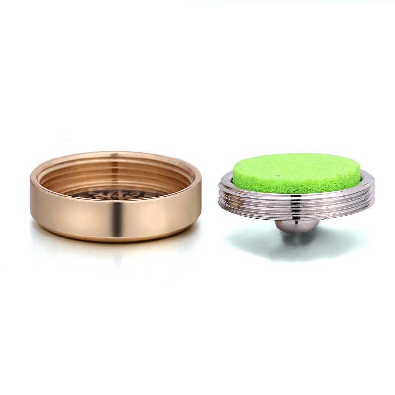 Liontin Bunga Kancing Perhiasan Stainless Steel Warna Emas Minyak Esensial Diffuser Aroma untuk 18 Mm-20 Mm Snap gelang