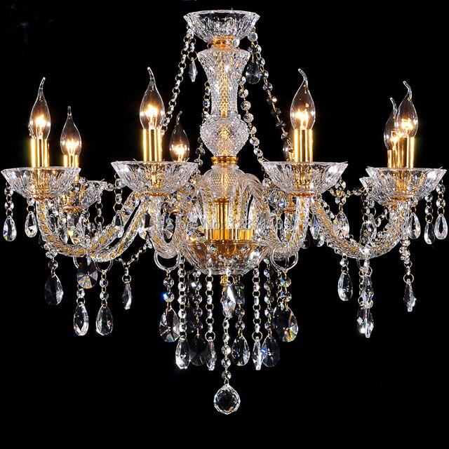 8 arms Oro Lampadario di cristallo lampada luce moderno classico ...