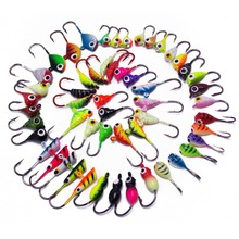 CATCHSIF 54pcs Ice Fishing Soft Worms live bait Colorful Weighted Hooks jighead Tackle Box