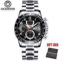 OCHSTIN Dropshipping Men Watch Chronograph Men's Quartz Watches Waterproof Business Casual Wristwatches Military Clock Gift Box