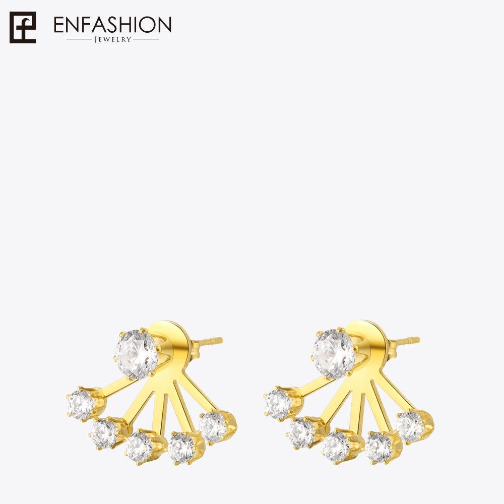 Enfashion Zirconia Crystal Earrings Stud Earring Gold color Ear Jacket Earings Stainless Steel Earrings For Women Jewelry punk style earring stainless steel screw ear stud