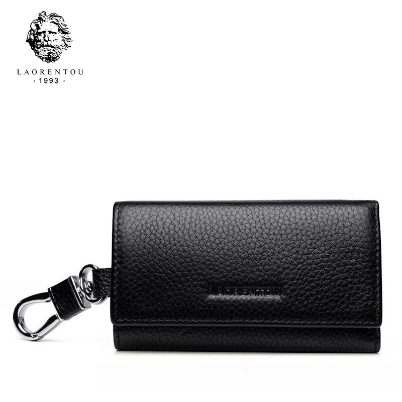 Laorentou Wallets Zipper-Key Pouch-Bag Key-Holder Small-Case Business Vintage Genuine-Leather