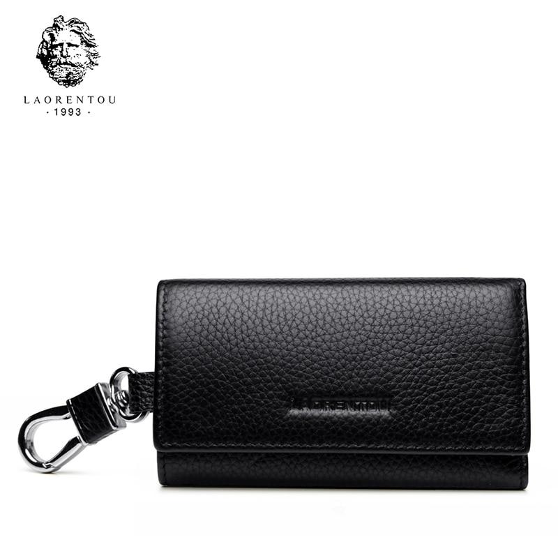 Laorentou Brand Men Unique Key Holder Genuine Leather Zipper Key Small Case Pouch Bag Men Key Wallets Vintage Business Men