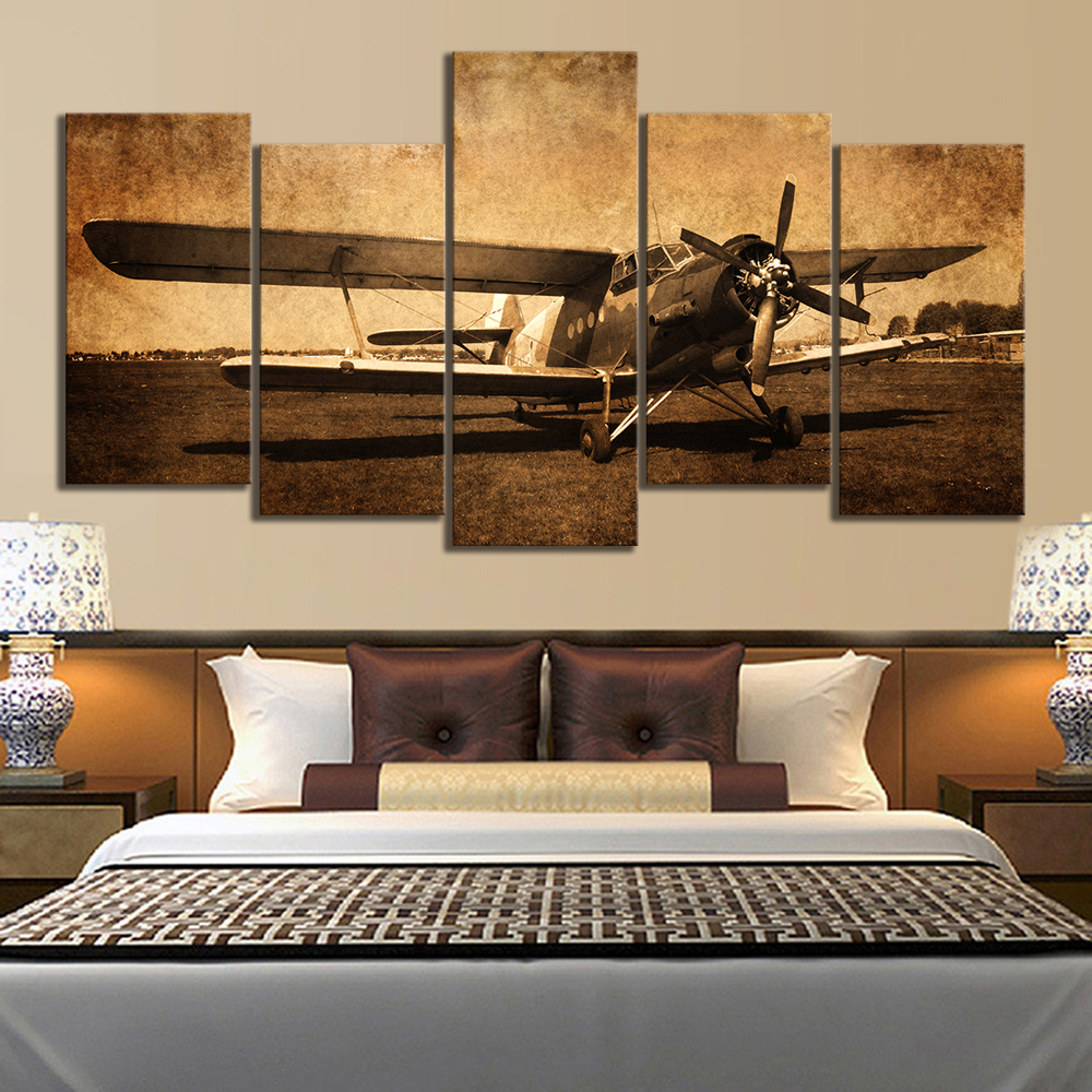 Us 13 46 12 Off 5 Piece Canvas Prints Vintage Aircraft Art Old Plane Picture Wall Decor Paintings Retro Military Aviation Airplane In Painting