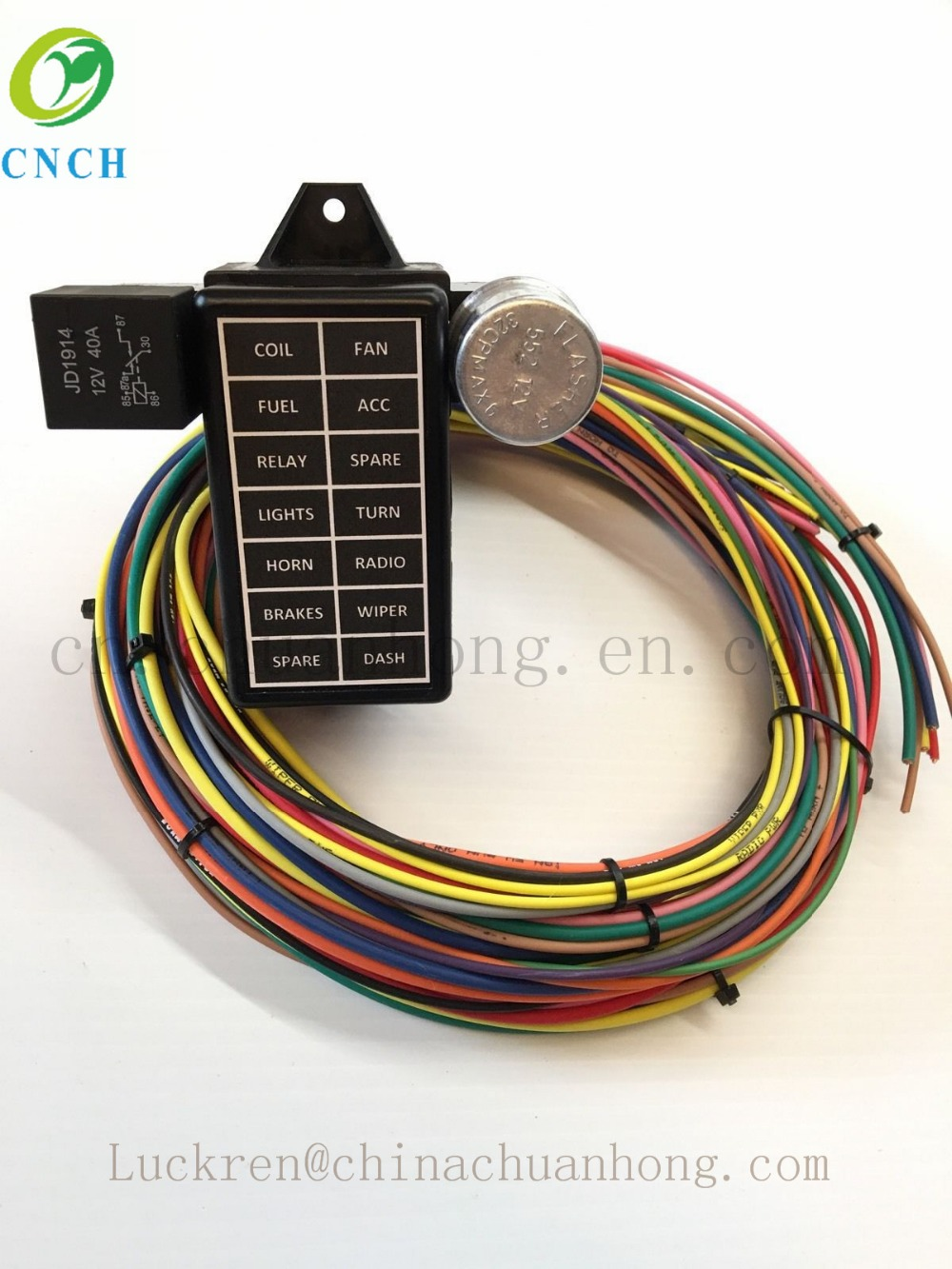 CNCH 12 Circuit 14 Fuse Universal Street Rod Wiring Harness aliexpress com buy cnch 12 circuit 14 fuse universal street rod street rod universal 14 fuse 12-14 circuit wire harness at bayanpartner.co