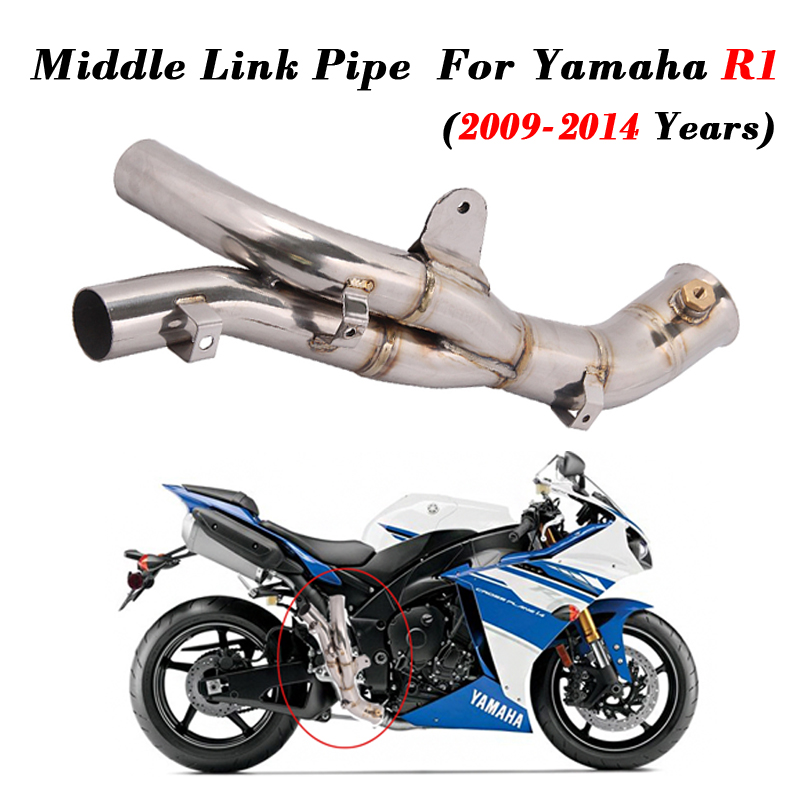 Front-Middle-Link-Pipe Motorcycle Exhaust Yamaha Slip-On Stainless-Steel For R1 2009