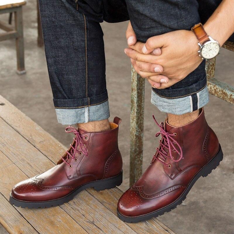 Botas Zapatos Tinto Mycolen Martin Brown Americanos Los Otoño vino Casual Y Cuero Altas E Retro Invierno Hombres Europeos Moda De ABqAPx