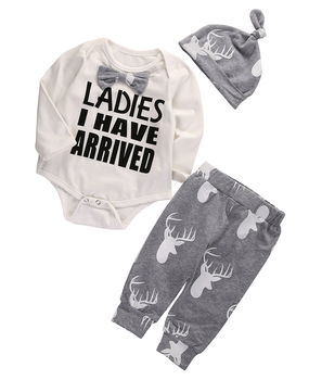 """Ladies I Have Arrived"" 3PC Set -  Onsie + Pants + Hat"