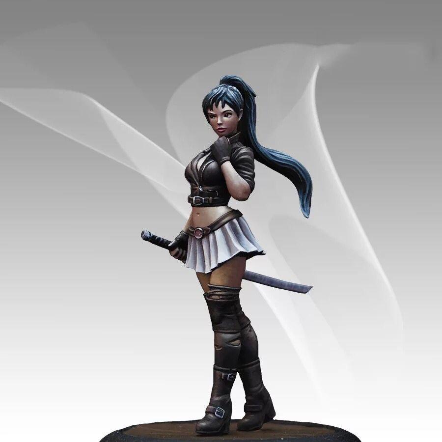 36MM Resin Soldier Model  Short Skirt Ponytail Long Hair Female Warrior,Female Elf Unpainted Kit