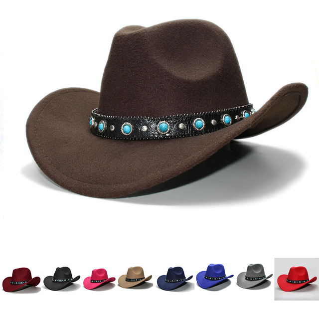 607ac7f0fd6bd Kid Child Retro 100% Wool Wide Brim Cowboy Western Cowgirl Bowler Hat Fedora  Cap Turquoise Bead Vintage Leather Band 54cm Adjust