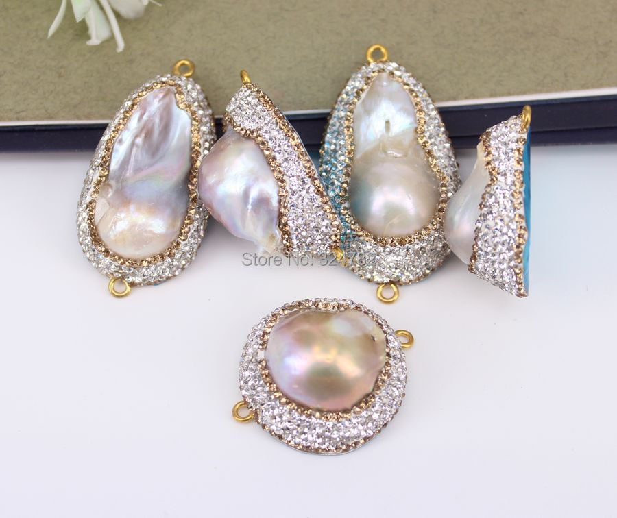 Aliexpress.com   Buy 5pcs Fashion Pearl Connector Beads With Paved  Rhinestone Beads 0db987d05f2a