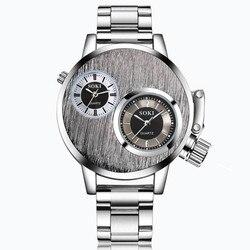 SOKI Luxury Brand Men Sport Watches Men's Crystal Stainless Steel Quartz Clock Man Army Military Wrist Watch Relogio Masculino