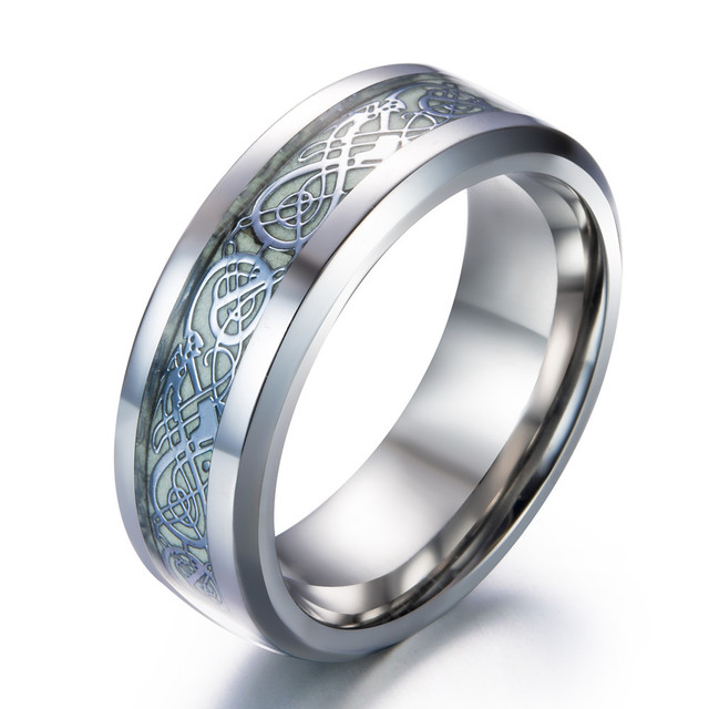 High-quality Luminous Dragon Rings for Men Black Gold Silver Mens Ring  Stainless Steel Glow In The Dark Male Ring Jewelry 9f3f47273933