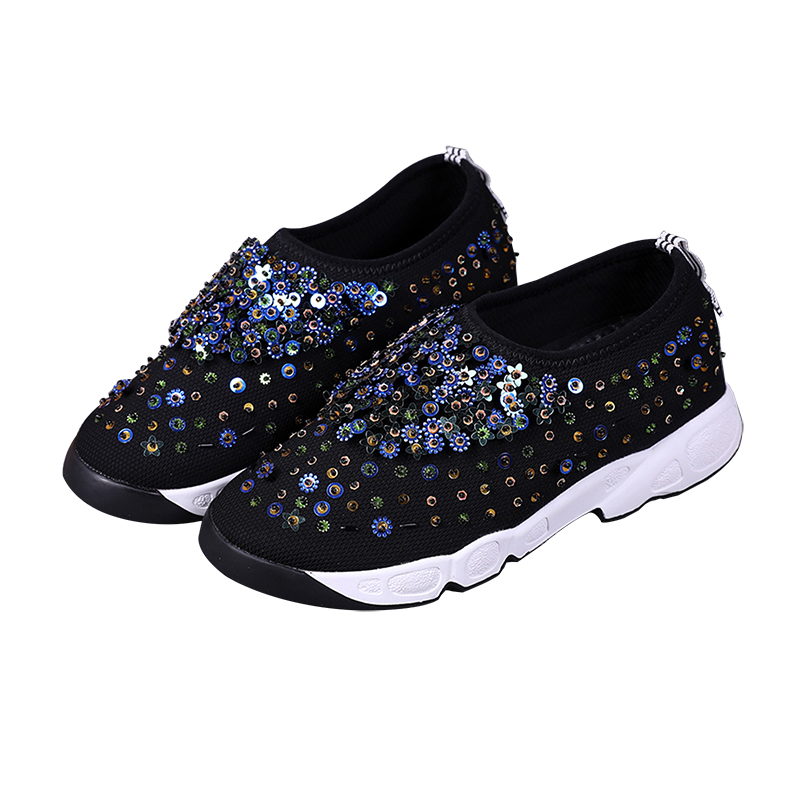 Large Size Fashion Net Fabric Embroidered Handmade Diamond Flats Shoes Woman Sequin Rhinestone Flat Heel Shoes
