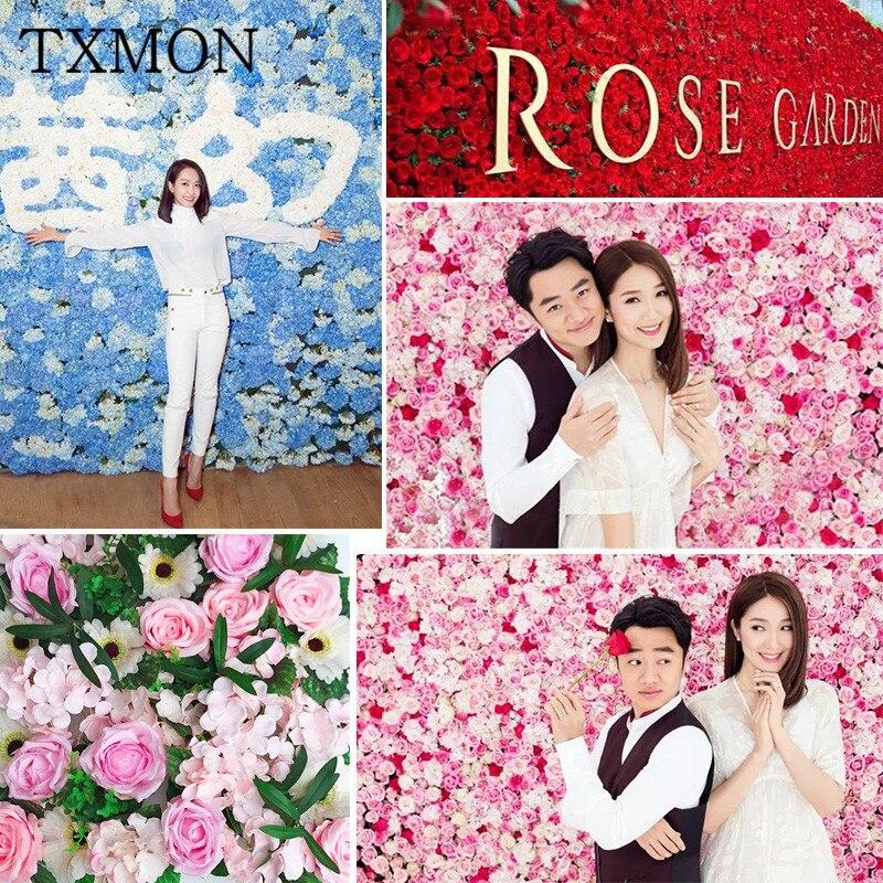Mariage fleur mur simulation rose hortensia fleur mur mise en page photo studio fenêtre décoration faux fleur mur mariage accessoires