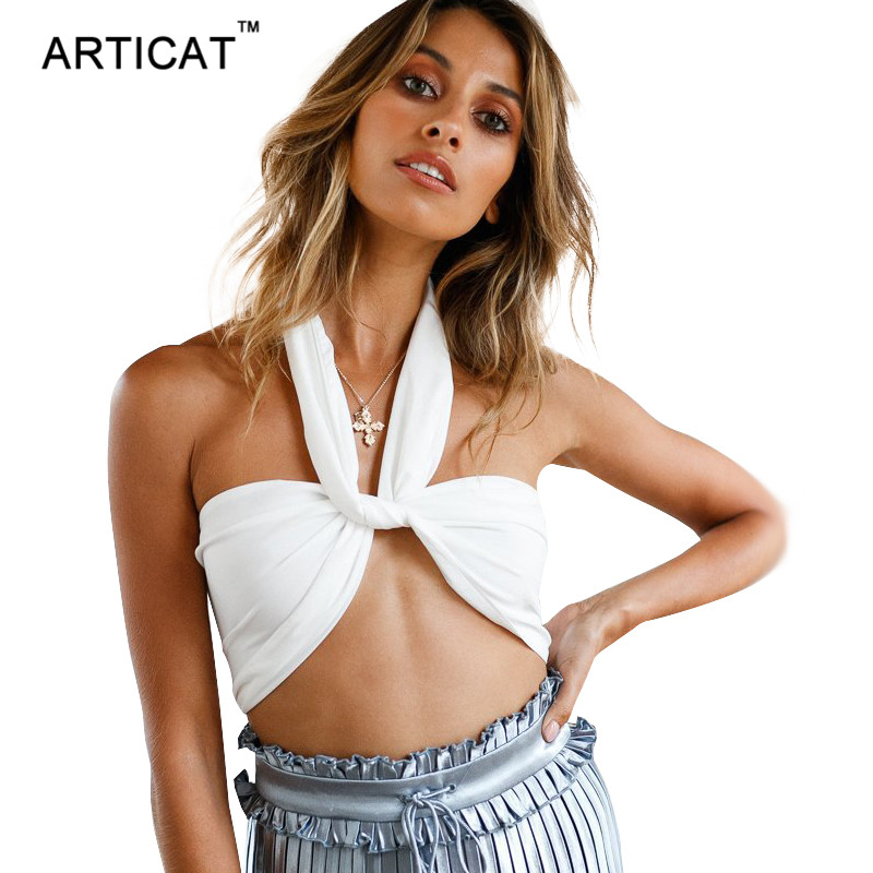 Articat Sexy Off Shoulder Halter Crop Top Women Camisole Summer Backless Tank Top Cropped Women Casual Solid Feminino Party Tops