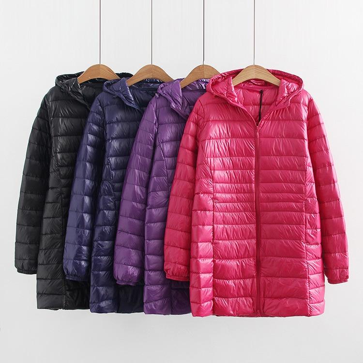 Новый осень зима плюс размеры 4XL 5XL 6XL утка пальто для женщин ультра легкие белые пуховики с капюшоном ветрозащитный Женский Верхняя одежда