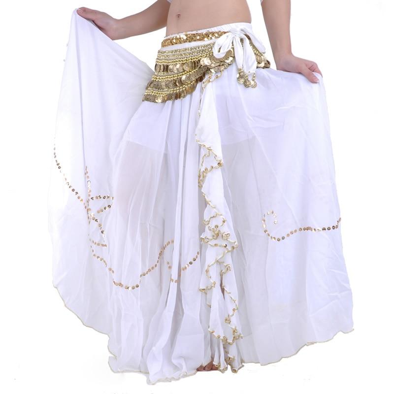 11 Color Sequins Pattern Single Slit Belly Dancing Long Skirt Belly Dancing Costume Skirt Elastic Waist
