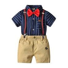New cross-border gentleman shirt suit / tie/ short sleeve shirt /back strap Khaki shorts four-piece suit 2019