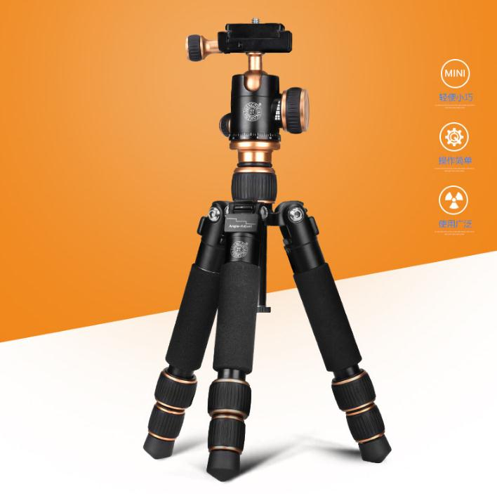Original QZSD Q166 foldable light weight and short Aluminium alloy table mini portable tripod for all