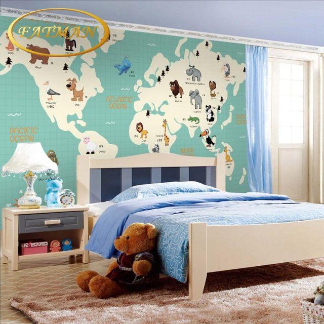 Online shop custom photo wallpaper 3d cartoon world map animal custom photo wallpaper 3d cartoon world map animal distribution mural children room bedroom kindergarten wallpaper gumiabroncs Choice Image