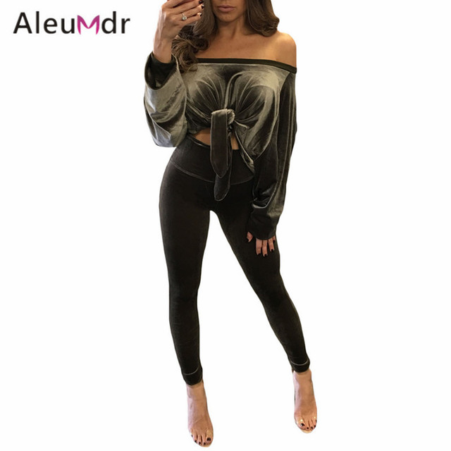 Aleumdr Hot 2017 Luxury Velvet Set Suit Women's Casual Two Piece Outfit Pant Set For Clubwear LC62055 Conjunto Feminino