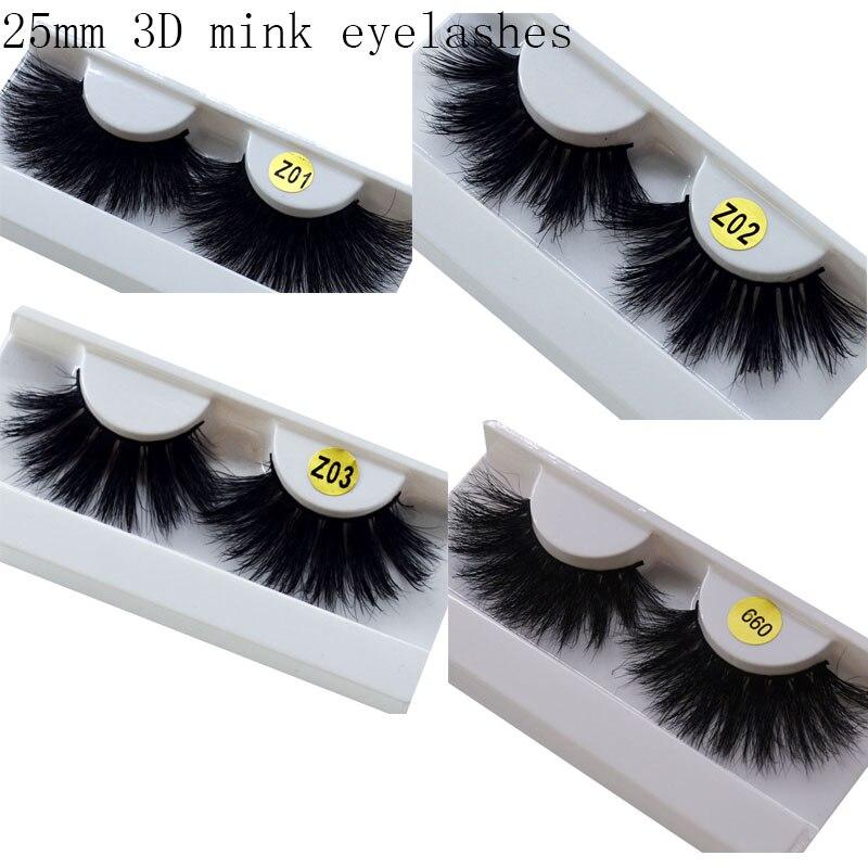 Long Hair 25mm Lashes Eyelashes 3D Mink Lashes Makeup Handmade Full Strip Mink Eyelashes Soft Fluffy Eyelashes Full Volume Lash