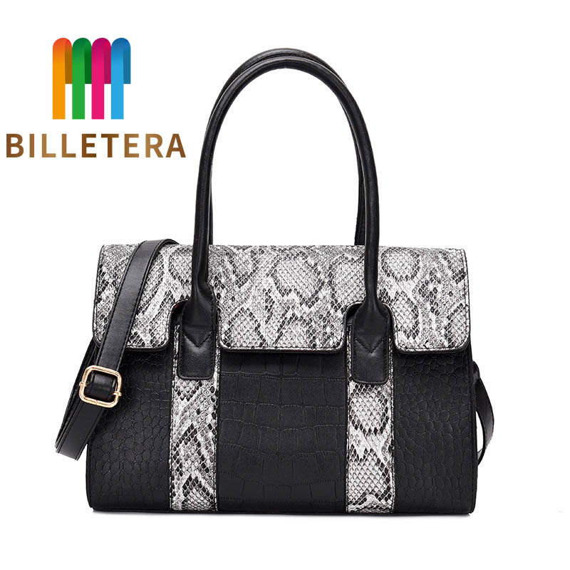 BILLETERA Women's Bag Snake Crocodile Print Pu Leather Tote Bag Women Handbags Big Large Capacity Women Shoulder Bags Messenger