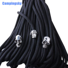 CAMPINGSKY 20pec/lot Keychain Ring Buckle DIY String outdoor paracord accessories Pendant Metal Skull beads Pirate Camping(China)