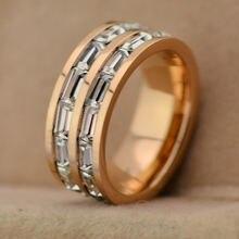 Обручальное кольцо из титановой стали два кристаллические колонцы